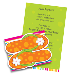 Summer fun with colors and spunk.  This cute fold-over invitation has polka dot orange flip flops (die-cut) that attach to the front.  Inside is bright green with plenty of room for your personalized text.<p>Colorful and fun fold over invitation with die cut! Premium quality cardstock is inkjet/laser compatible and available blank or personalized.  Includes white envelope. Assembly required.  We can assemble personalized orders for $0.50 per card. Please make note in the comments section if you would like assembly.</p>