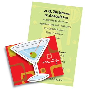 Colorful and fun fold over invitation with die cut! Premium quality cardstock is inkjet/laser compatible and available blank or personalized.  Includes white envelope. Assembly may be required.  We can assemble personalized orders.  .50 per card please make note in the comment section.