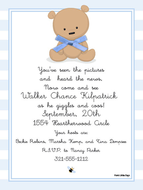 Babies Children BABY SHOWER Invitations Teddy Bear Boy