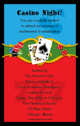 Invitations CASINO Invitations Casino Night Digital Invitation