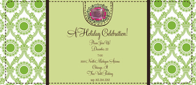 This fun 4x9.25 invitation comes  blank or let us print them for you.   Cards come with optional embellishment. Please indicate in order if you would like rhinestones added. <br>