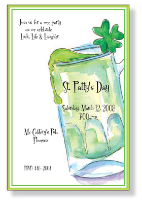 St. Pattys Day fun--drinking style!  This invitation is decorated with a hand-painted style stein filled to the brim with flowing green beer.  A bright green shamrock is the perfect garnishing.  Enjoy you Irish St. Patricks Day celebration with an invitation thats sure to please!<p>A trendy design printed only on premium fine quality 80 lb. card stock. Available either blank or personalized. Includes white envelope.</p>