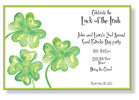 Hand painted shamrocks and an extra serving of lucky green!  This St Patricks Day invitation of four leaf clovers is perfect for all of your Irish needs.  Enjoy it for a St. Pattys Day celebration that will stand out from the rest.<p>A trendy design printed only on premium fine quality 80 lb. card stock. Available either blank or personalized. Includes white envelope.</p>