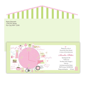 "Fun and sparkling invitation for an Around the Clock themed bridal shower or house shower. A big bubble gum pink clock is the center around a variety of different things done during the day and night (some perfect gift ideas…) From afternoon tea to ""lights off"" with bubble bath and candles! The glitter is spread over the clock and all its surrounding items. Also comes with matching green and pink envelope! This invite will definitely get your guests excited to shop for their Oclock time, whenever it may be!  Eco Friendly"