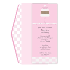 This is such a cute and yummy looking invite. A light pink background encompasses a delicious, sparkling cake of white, brown and pink layers with a heart on top. A pattern of glittered checkers accents the invitation on the bottom and on the top, where there is also a delicate vine of small hearts  - just for that extra sparkling touch! The matching envelope is pink with white and pink checkers on the back flap and pink scallops - adorable! eco friendly