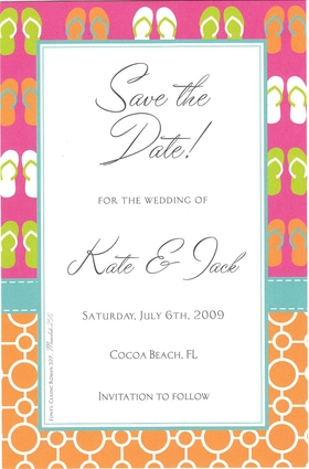 A light summer theme for your event!  This extremely cute flip flop border invitation is just perfect for your event with a warm summery flair.  Enjoy this for everything from a teen pool party to a save the date card!<p>A trendy and colorful design printed only on premium fine quality 80 lb. card stock. Available either blank or personalized. Includes white envelope.</p>