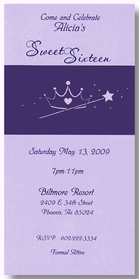 <b>ON SALE! </b><br><br>This beautiful shimmering lavende tea-length invitation is printed on heavy 90# card stock.  Each invitation includes a purple wrap-around that features a laser-cut tiara and wand design. Comes with a white envelope. Perfect for a Sweet 16 or any party that your princess might have!