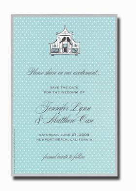This invitation is part of the fabulous Mindy Weiss collection, recently featured in InStyle Magazine!  A trendy design printed only on premium fine quality 80 lb. card stock. Available either blank or personalized. Includes white envelope.