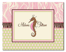 "This stylish fold-over note card is available with one line of text, such as name or ""thank you"" on the front.  Includes coordinating envelope."