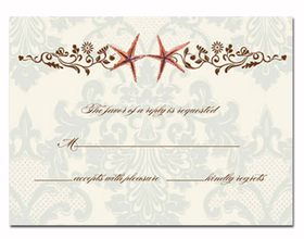 This elegant response card coordinates with item BIK-WCH-5 invitation.  This response cards comes blank or we can print it for you.  These cards are printed on FSC-certified Domtar Earth Family of papers and are acid free. coordinating envelopes included.