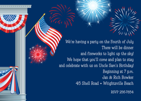 Great for 4th of july invitation!  Printed on premium 100lb cardstock, you will love the rich color of this unique digitally created design. Not available blank. Includes white envelope.</p>