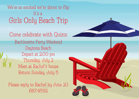 Serene and peaceful, this beach themed invitation shows a beach chair and umbrella resting on the soft sand.  The cool ocean waves are visible on the horizon.  A great way to celebrate your beach party!<p>Printed on premium 100lb cardstock, you will love the rich color of this unique digitally created design. Not available blank. Includes white envelope.</p>