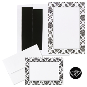 GREAT DEAL! This product is great for Weddings and all those special events.   Get 50 invitations, 50 envelopes, 50 notecards, 50 notecard envelopes, and 50 seals in one set. You can personalized them or we can do it for you. The envelopes are black lined.  80 lb card stock. Please specify in the notes to your order if you would like us to personalize the invitations for you.