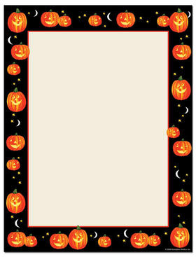 discontinued<br><br>A great pumpkin themed laser paper! This orange and black Halloween design has smiling jack-o-lanterns all along the border with crescent moons. Great for any Halloween related event or activity!<p>Our desktop/EZ-print halloween papers are a cinch for you to print on your inkjet/laser printer. Dont forget the coordinating #10 size envelope shown. (NOT AVAILABLE PERSONALIZED)</p>