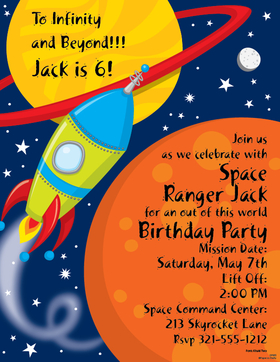 This fun rocket themed paper is perfect for any space themed party or science program or school function.  A bold design of a rocket ship zooming off in space.  Colored envelopes are available but are sold seperately