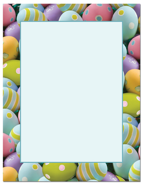 Easter Eggs galore!  This laser paper is decorated with brightly painted eggs of every color for your Easter pleasure.  Its the perfect way to host an Easter Egg Hunt!<p>Our desktop/EZ-print papers are a cinch for you to print on your inkjet/laser printer. Dont forget the coordinating #10 size envelope shown. (NOT AVAILABLE PERSONALIZED)</p>