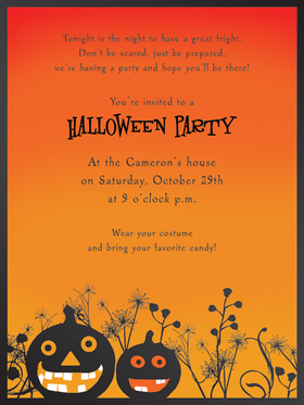 This bold and fun Halloween invitation has two grinning jack-o-lanterns against a bright orange background.  Easy to print on your inkjet/laser printer or we can print for you.  White envelopes are included.