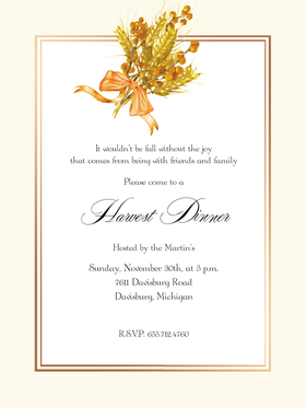 Stylish and festive autumn harvest themed invitation with copper foil accents.  Includes white envelopes.  This product can be purchased blank or we can print them for you.