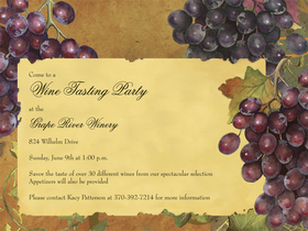 Stylish vineyard designed invitation.  Includes white envelopes.  This product can be purchased blank or we can print them for you. <br>