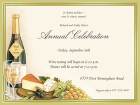 Stylish wine and cheese designed invitation.  Includes white envelopes.  This product can be purchased blank or we can print them for you. <br>