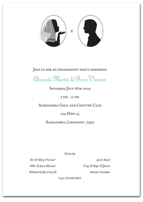 "Sweet and simple!   beautiful  silhouette of bride and groom design comes in a 5x7"" 80# Classice Crest cover.   Comes with white envelope.   This product can come blank or we can personalize it for you."