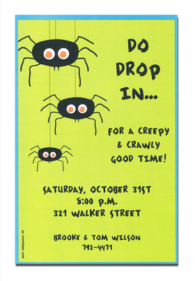 Check out this cute Halloween invitation featuring three spiders making their way down.  This invitation features a green background with a light blue border.  A trendy design halloween themed printed only on premium fine quality 80 lb. card stock. Available either blank or personalized. Includes white envelope.