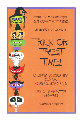 A trendy design halloween themed printed on premium quality 80 lb. card stock. Available either blank or personalized. Includes white envelope.  Trick or Treat, give your guests something sweet.  This is such a cute cards with witches, goblins, pumpkins, mummies and much more.  This cute Halloween card will be the perfect invite for your spooky party!