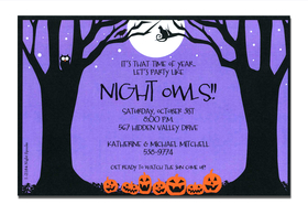 This is a great Halloween party invitation or fall birthday party invitation.  Cute jack-o-laterns against a dark purple sky.  Dont forget the cute owl  sitting up in the tree!  A trendy design halloween themed printed only on premium fine quality 80 lb. card stock. Available either blank or personalized. Includes white envelope.