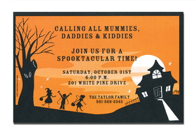 This Halloween invitation is surely a treat.  This invitation features a cute haunted house and a set of happy trick or treaters paying a visit.  A trendy design halloween themed printed only on premium fine quality 80 lb. card stock. Available either blank or personalized. Includes white envelope.