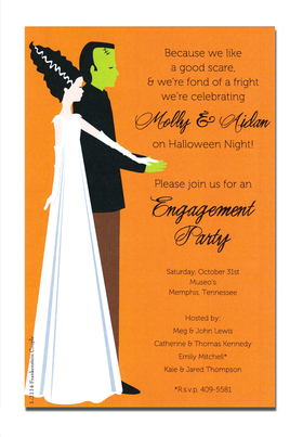 Frankenstein couple halloween invitation makes for those great halloween couples party or a fun and festive halloween wedding or engagement party! Card is printed on an 80lb. card stock.  Includes white envelope. <br><br>