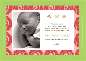 A light green border with a red and pink swirl design makes a delicate but festive photo greeting card for holiday or birth announcement. It has room for one digital photo and your special holiday message! Printed on high quality card stock using crisp digital printing. Includes white envelopes.