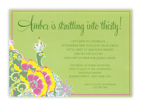 This Lilly Pulitzer Peacock Floral card can be used as either an invitation or a correspondence card.  Pricing for each is shown below. Product can be purchased personalized only.   IF ordering as a correspondence card, text is limited to a name or Monogramed initials.  Includeds white envelope.
