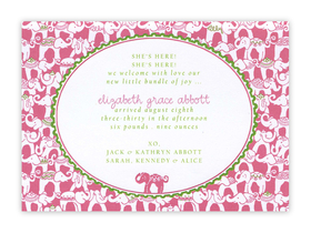 This Lilly Pulitzer Elephant designed themed card can be used as either an invitation or a correspondence card.  Pricing for each is shown below. Product can be purchased personalized only.   If ordering as a correspondence card, text is limited to a name or monogram (initials).  Includes white envelope.