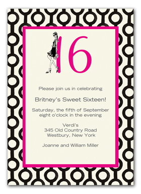 Sweet Sixteen - Chic and stylish sweet sixteen themed 100# premium ecru cardstock which includes ecru envelope! Comes with glitter upgrade for an added fee of .75 per card.  Glitter is added to the handbag.