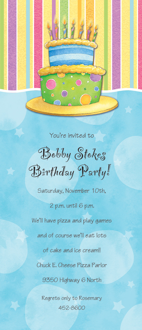 Stylish Slim Birthday Cake Themed cardstock invitation includes white envelope.  Easy to print on your inkjet/laser printer or we can print for you.