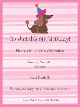 Pink Stripes Birthday Dog cardstock invitation includes white envelope.  Easy to print on your inkjet/laser printer or we can print for you.