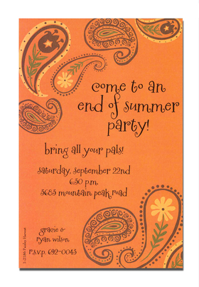 A paisley delight thats themed with Fall!  This invitation is decorated it orange, brown, and yellow with floating paislies that celebrate Autum in all of its colorful glory.  A great choice for any occasion!<p>A trendy Holiday design printed only on premium fine quality 80 lb. card stock. Available either blank or personalized. Includes white envelope.</p>