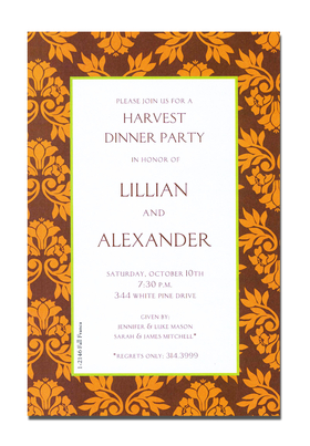 The colors of Fall in a beautiful border design.  This invitation is decorated with a floral leaf damask design.  A great choice for any Autumn harvest or Thanksgiving celebration.<p>A trendy Holiday design printed only on premium fine quality 80 lb. card stock. Available either blank or personalized. Includes white envelope.</p>