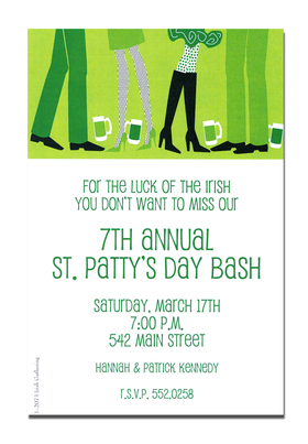 Dont get pinched!  Dress in green and say cheers.  The green ale is flowing, the spirits are high, and everyone wants to be lucky!  This St. Patricks Day invitation is perfect for a St. Pattys Bash, decorated with partygoers and green beer against a light green background.<p>A trendy St. Patricks Day design printed only on premium fine quality 80 lb. card stock. Available either blank or personalized. Includes white envelope.</p>