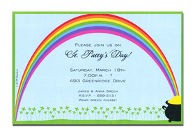 This invitation is overflowing with luck, just like the pot o gold!  Decorated with a field of four leaf clovers and a brilliant rainbow that of course leads directly to a pot o gold, this invitation is perfect for St. Patricks Day. <p>A trendy St. Patricks Day design printed only on premium fine quality 80 lb. card stock. Available either blank or personalized. Includes white envelope.</p>