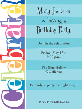 This fun and colorful invitation has the word Celebrate! along the left side in a unique die-cut design.  Includes white envelopes.  Easy to print on your inkjet/laser printer or we can print for you.