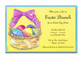 A basket of eggs left just for you!  The Easter Bunny was here and left a little wicker basket with a big purple bow, and half a dozen painted eggs for you to enjoy.  Hide them for an Easter egg hunt or serve them with your Easter brunch.  Either way, this invitation is a must!<p>A trendy Holiday design printed only on premium fine quality 80 lb. card stock. Available either blank or personalized. Includes white envelope.</p>