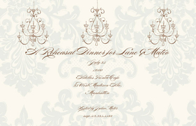 An elegant and simple chandelier themed  5.5x 8.5 invitation can be purchased blank or personalized. Printed on FSC-certified Domtar Earth Family of papers and are acid free. coordinating envelopes included.   This invitation has an added option of Glitter upgrade.