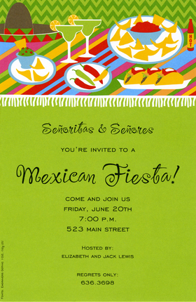 A trendy and colorful fiesta buffet themed design printed only on premium fine quality 80 lb. card stock. Available either blank or personalized. Includes white envelope.