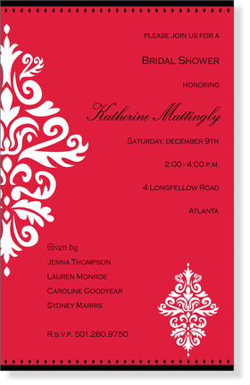An elegant red themed  design printed only on premium fine quality 80 lb. card stock. Available either blank or personalized. Includes white envelope.