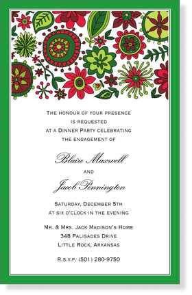 <B> SALE!  100 AVAILABLE AT SALE PRICE! </B><br><br>A beautiful holiday floral design that creates a fun and festive design for your next holiday party.  A bold green border completes this invitation.  Includes white envelopes.