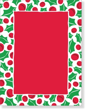 Discontinued<br><br>&quot;Hello Holly&quot; laser paper has a white border decorated with red and green holly berries and leaves. The center printable area is holiday red. These laser sheets are great to use as Christmas Party Invitations, Holiday Dinner Party Invitations, even Christmas Open House Invitations!<br><br>Solid color envelopes are available, sold separately.