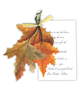 Stylish Fall Leaves themed invitation comes with the option of glitter upgrade.  High quality glitter will need to be applied  or we can apply it to personalized orders for an additional $0.50 per card.  Please make a note in the comments if you would like glitter applied; also, request an upgrade in order options. Comes with white envelopes.