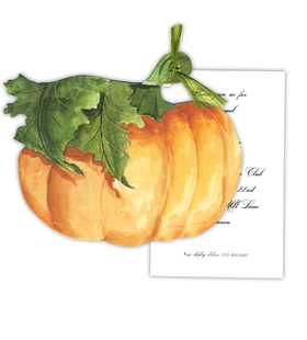 Stylish Pumpkin themed invitation comes with the cordinating bow. Perfect for the annual thanksgiving celebration or a family feast.  Comes with white envelopes.