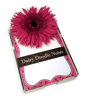 Swirls Daisy Doodle Notepad - A great gift idea!  Comes in bright and fun designs each with 150 loose sheets.  Includes acrylic holder and a large daisy flower.  These notes can be personalized with one line of text and printed in black ink.   Personalization will be printed at the bottom of the notepad above border. <br>